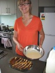 Making extravagant pannetone bread-and-butter pudding